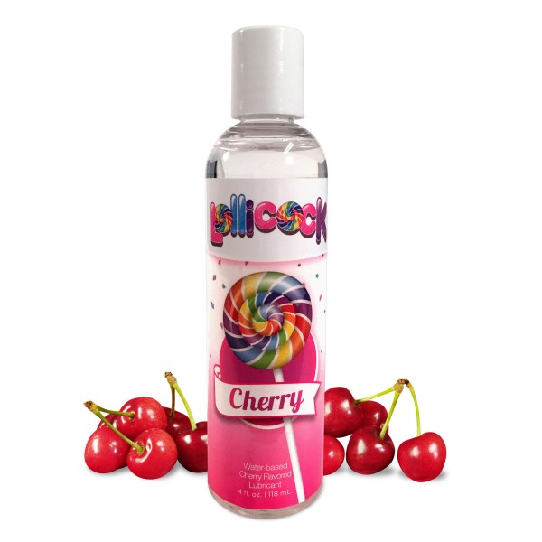 Lollicock 4 oz. Water-based Flavored Lubricant - Cherry