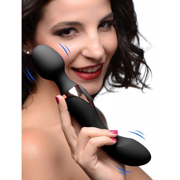 10X Dual Duchess 2-in-1 Silicone Massager - Black Double Pentetration